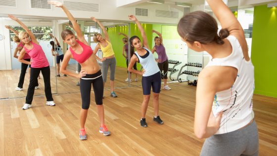 Fitness class in community centre