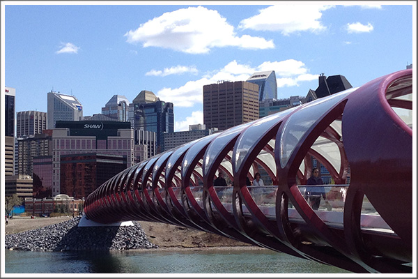 Walking and biking on Calgary's Peace Bridge